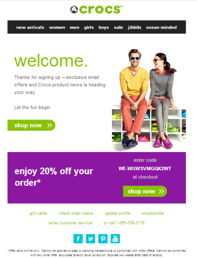 Crocs, welcome email example, shivamujoshi, shivam joshi